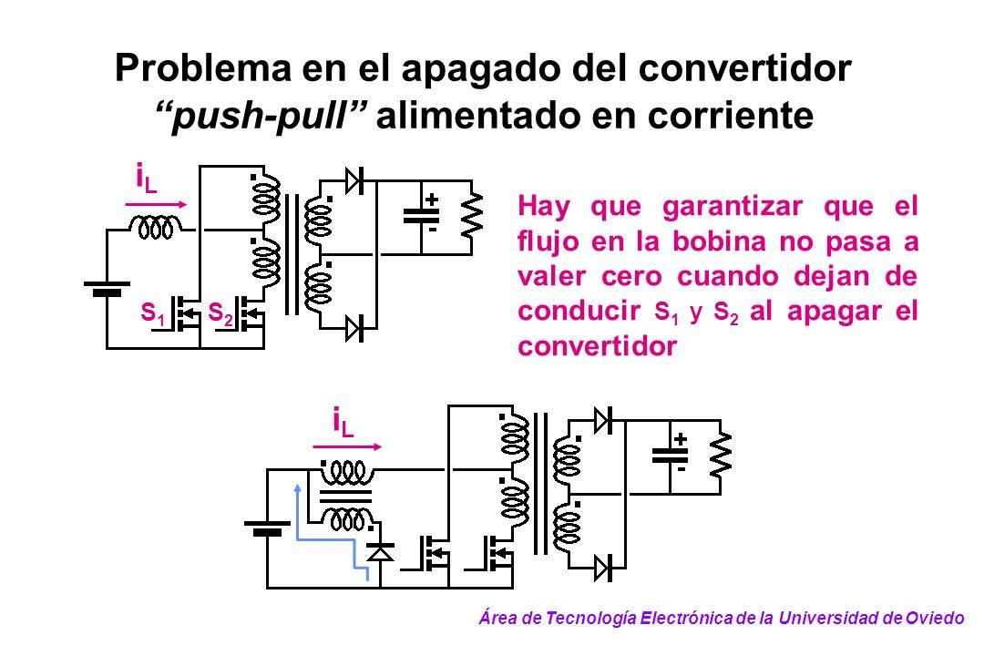 Problema en el apagado del convertidor push-pull alimentado en corriente S2S2 S1S1 iLiL Hay que garantizar que el flujo en la bobina no pasa a valer c