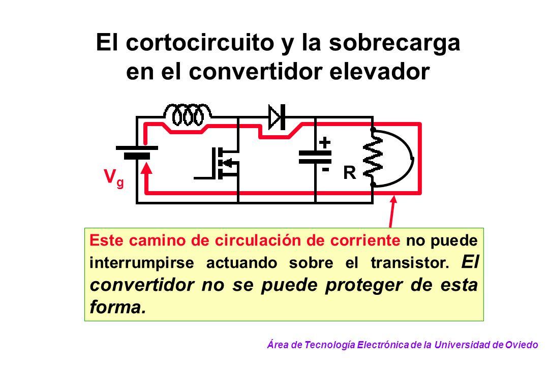 El cortocircuito y la sobrecarga en el convertidor elevador VgVg R Este camino de circulación de corriente no puede interrumpirse actuando sobre el tr