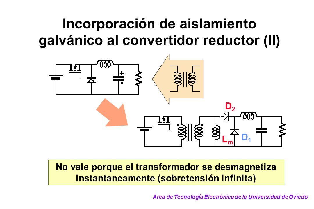 Incorporación de aislamiento galvánico al convertidor reductor (II) No vale porque el transformador se desmagnetiza instantaneamente (sobretensión inf