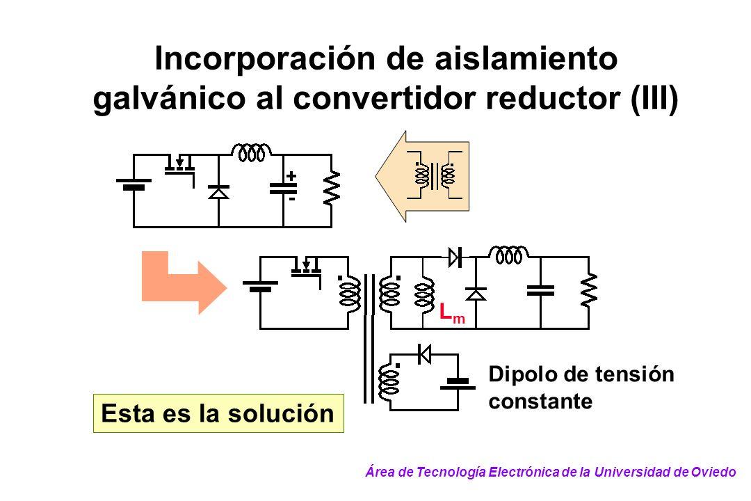 Incorporación de aislamiento galvánico al convertidor reductor (III) Esta es la solución LmLm Dipolo de tensión constante Área de Tecnología Electróni