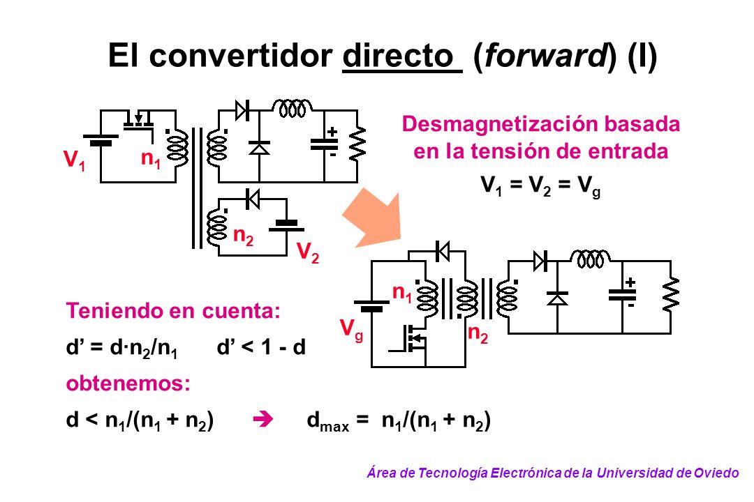 El convertidor directo (forward) (I) VgVg n2n2 n1n1 Desmagnetización basada en la tensión de entrada V 1 = V 2 = V g Teniendo en cuenta: d = d·n 2 /n