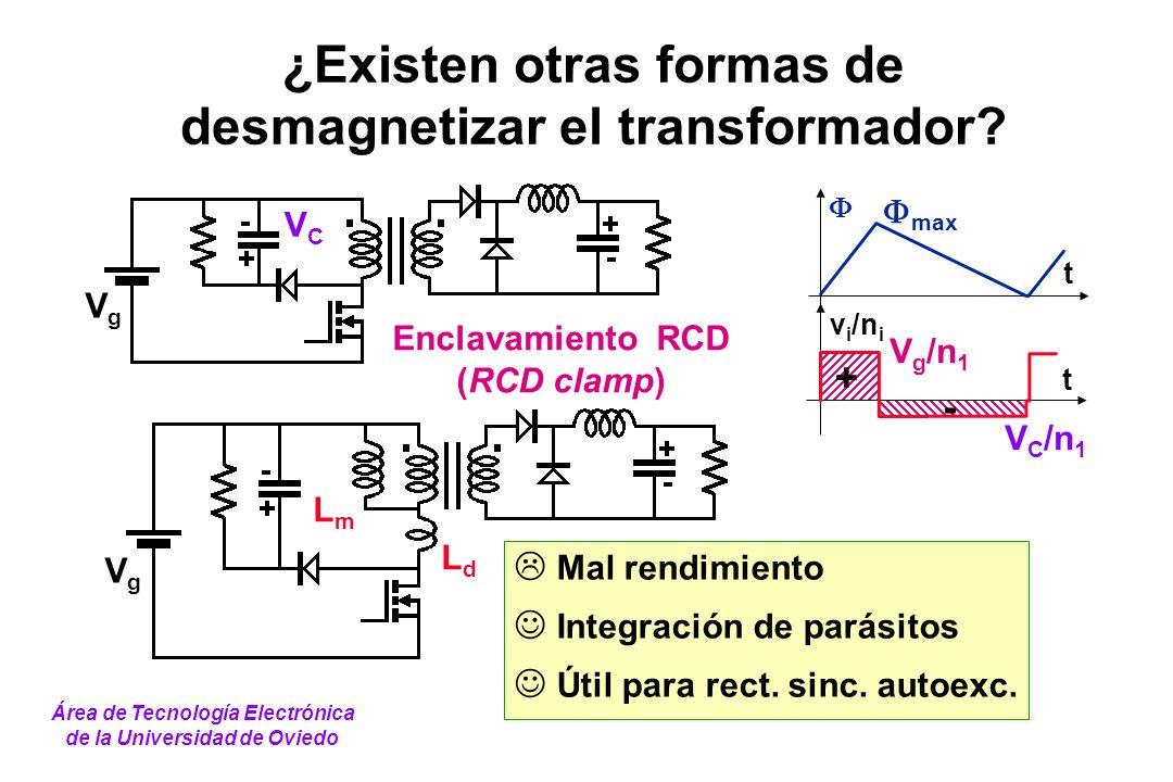 ¿Existen otras formas de desmagnetizar el transformador? t v i /n i t + - V g /n 1 max V C /n 1 Enclavamiento RCD (RCD clamp) Mal rendimiento Integrac