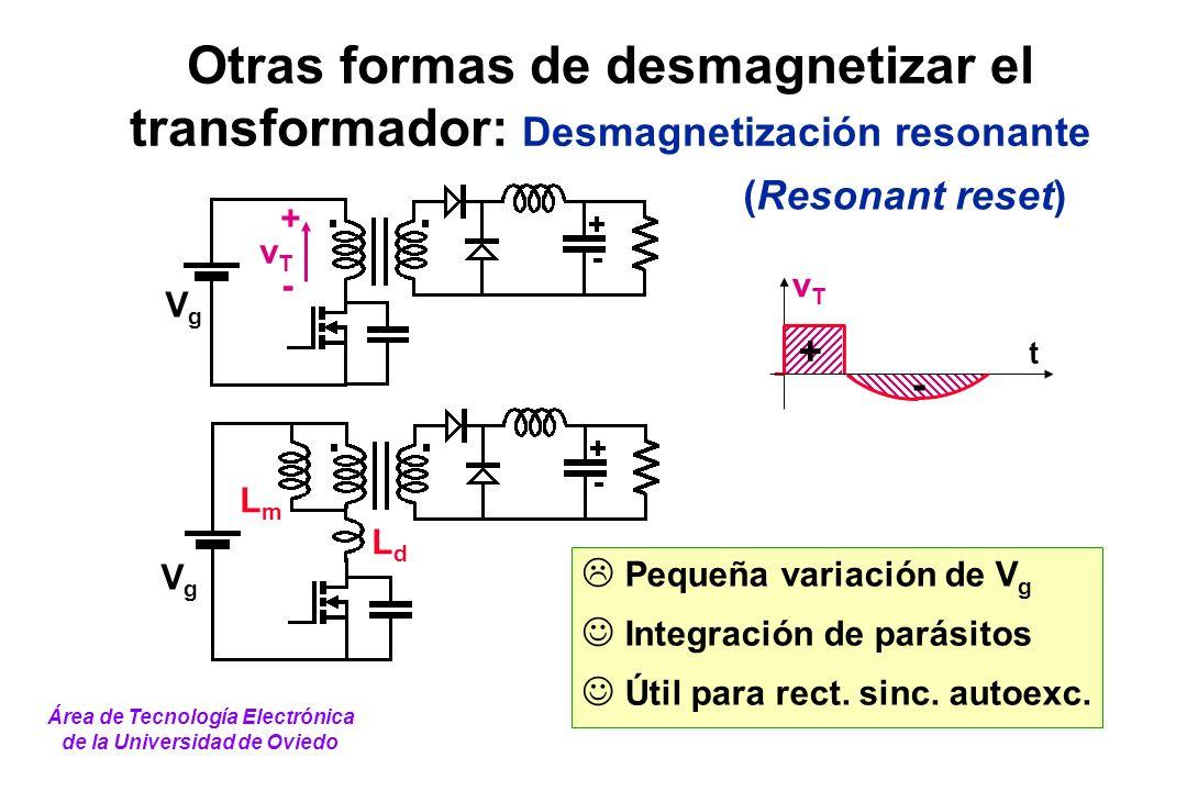 Otras formas de desmagnetizar el transformador: Desmagnetización resonante Pequeña variación de V g Integración de parásitos Útil para rect. sinc. aut