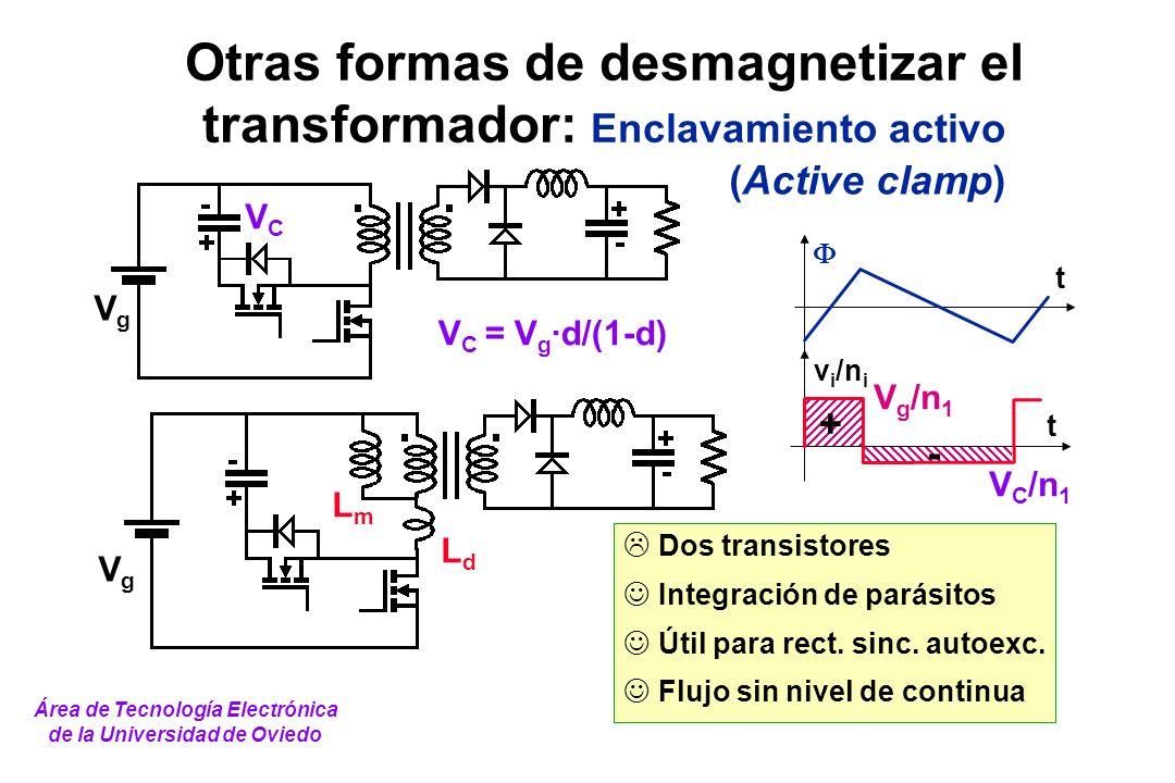 t v i /n i t + - V g /n 1 V C /n 1 Dos transistores Integración de parásitos Útil para rect. sinc. autoexc. Flujo sin nivel de continua Otras formas d