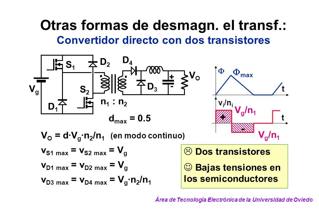 Dos transistores Bajas tensiones en los semiconductores Otras formas de desmagn. el transf.: Convertidor directo con dos transistores t v i /n i t + -