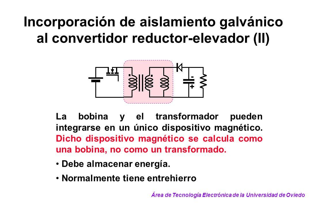 Incorporación de aislamiento galvánico al convertidor reductor-elevador (II) La bobina y el transformador pueden integrarse en un único dispositivo ma