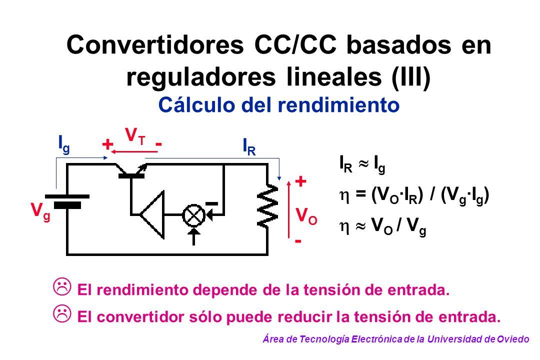 Convertidores CC/CC basados en reguladores lineales (III) Cálculo del rendimiento VgVg VTVT VOVO + + - - IgIg I R I g = (V O ·I R ) / (V g ·I g ) V O