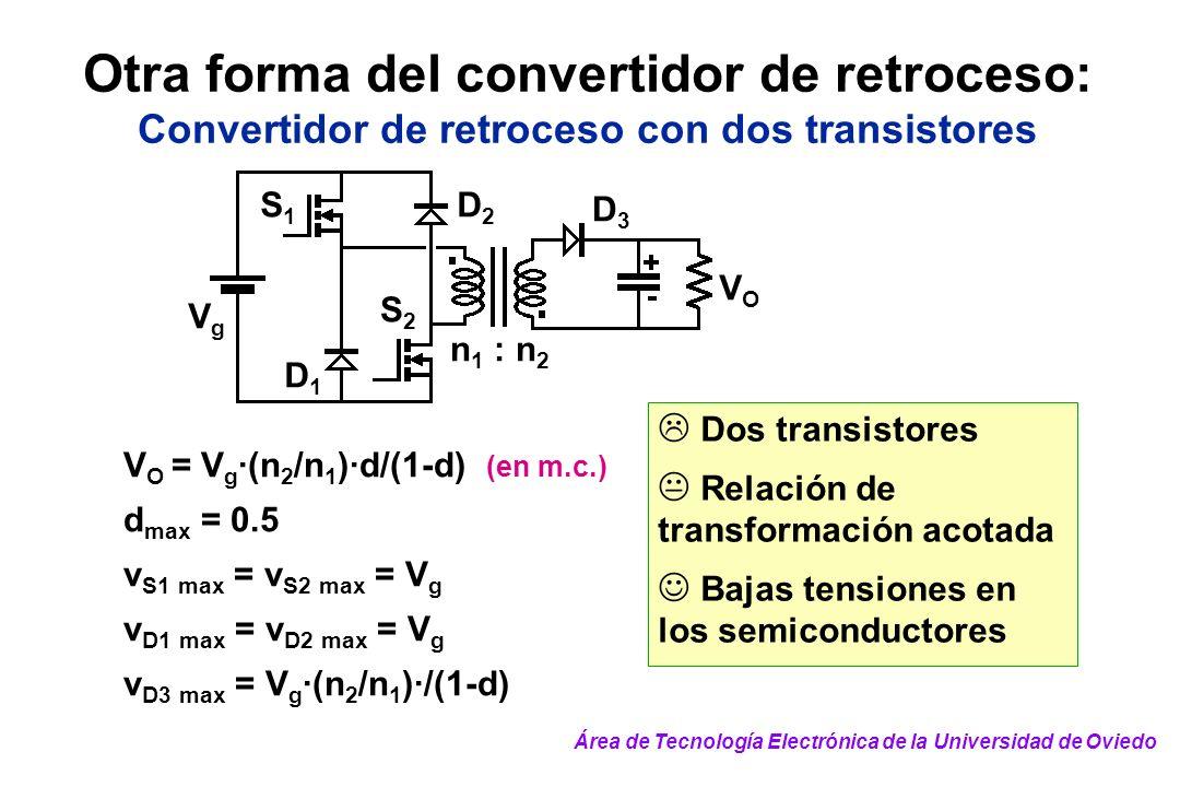 Dos transistores Relación de transformación acotada Bajas tensiones en los semiconductores Otra forma del convertidor de retroceso: Convertidor de ret