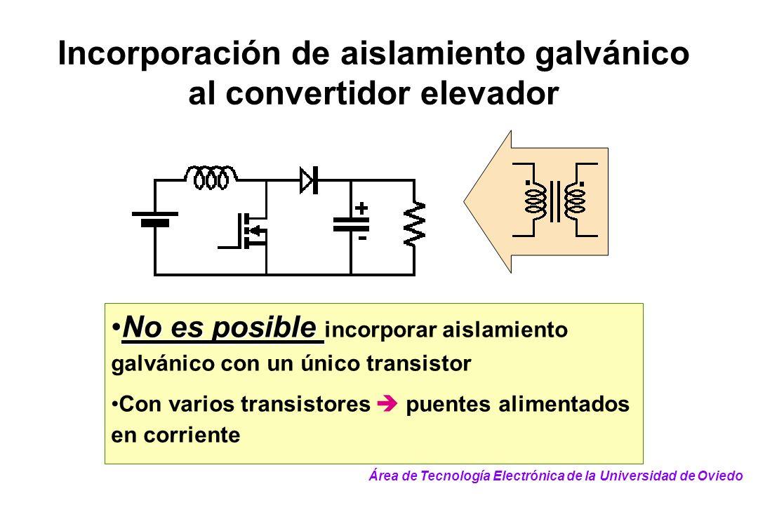 Incorporación de aislamiento galvánico al convertidor elevador No es posibleNo es posible incorporar aislamiento galvánico con un único transistor Con