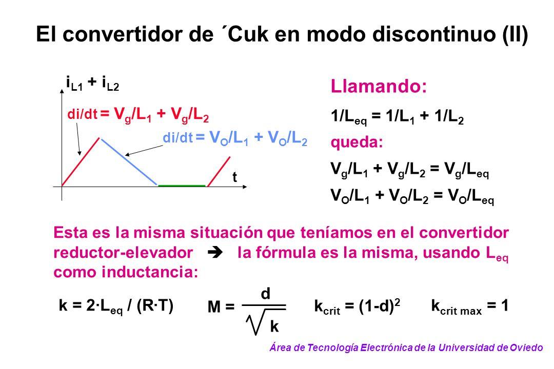 El convertidor de ´Cuk en modo discontinuo (II) di/dt = V g /L 1 + V g /L 2 t i L1 + i L2 di/dt = V O /L 1 + V O /L 2 Llamando: 1/L eq = 1/L 1 + 1/L 2