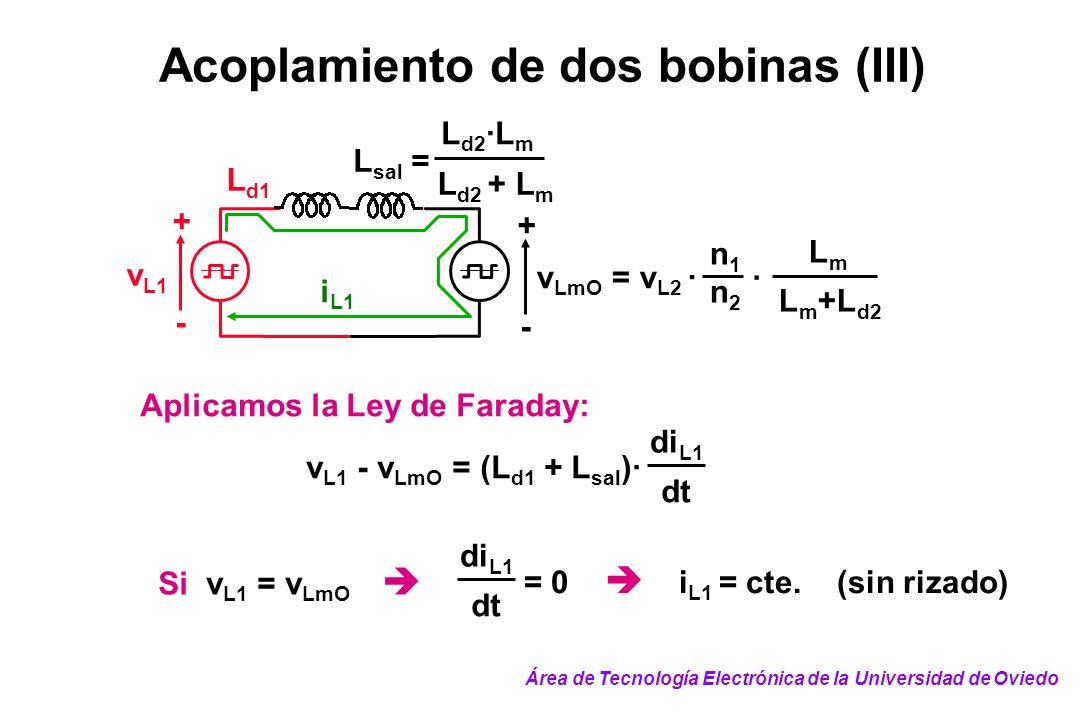 Acoplamiento de dos bobinas (III) i L1 v L1 - v LmO = (L d1 + L sal )· di L1 dt Aplicamos la Ley de Faraday: Si v L1 = v LmO di L1 dt = 0 i L1 = cte.