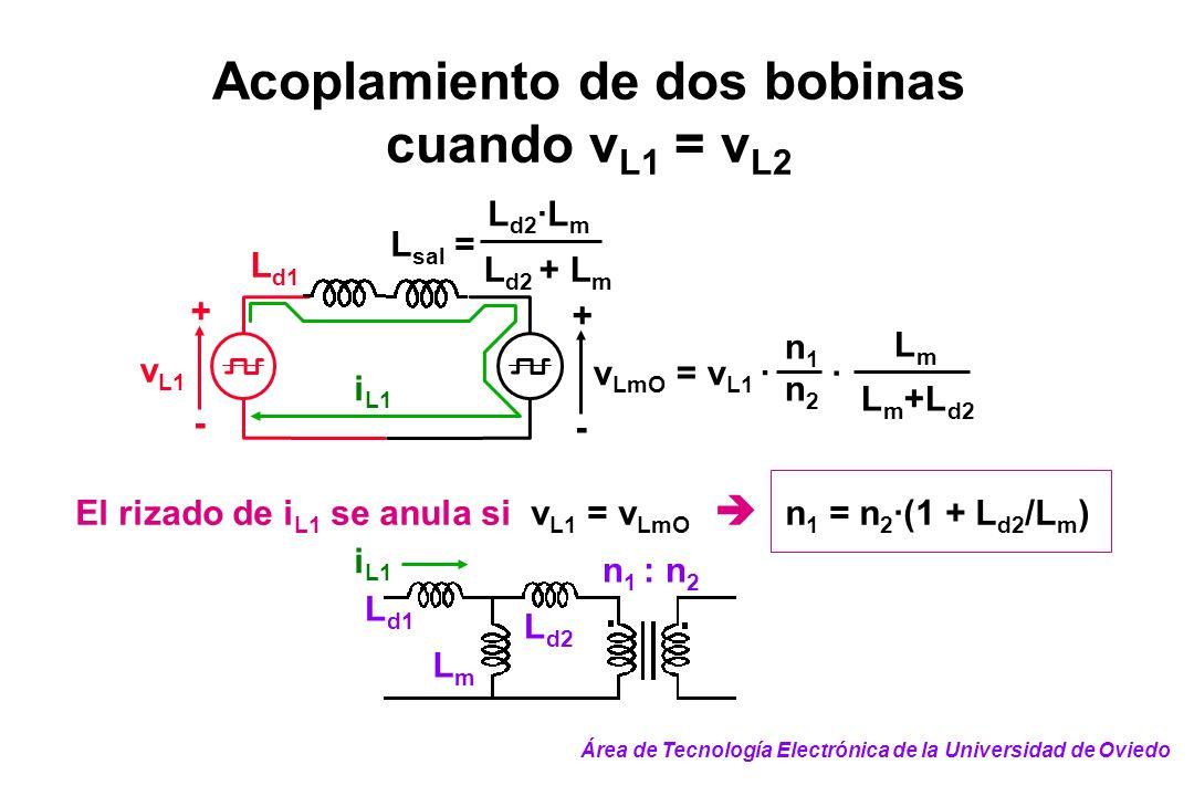 Acoplamiento de dos bobinas cuando v L1 = v L2 i L1 n1n1 v LmO = v L1 · n2n2 LmLm · L m +L d2 + - v L1 + - L d1 L d2 ·L m L d2 + L m L sal = El rizado