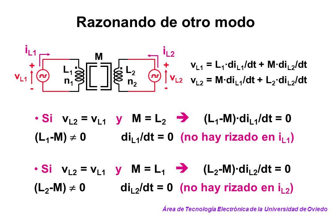 v L1 = L 1 ·di L1 /dt + M·di L2 /dt v L2 = M·di L1 /dt + L 2 ·di L2 /dt n1n1 v L1 + - + - v L2 L2L2 L1L1 n2n2 M i L1 i L2 Razonando de otro modo Si v