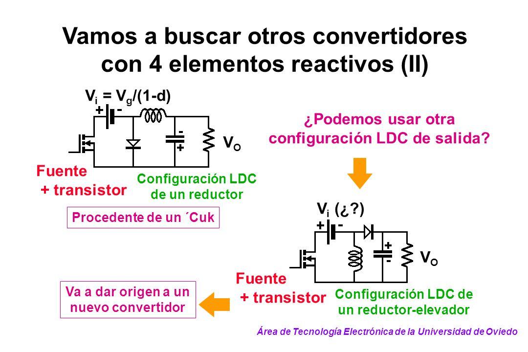 Configuración LDC de un reductor VOVO V i = V g /(1-d) Fuente + transistor Vamos a buscar otros convertidores con 4 elementos reactivos (II) ¿Podemos
