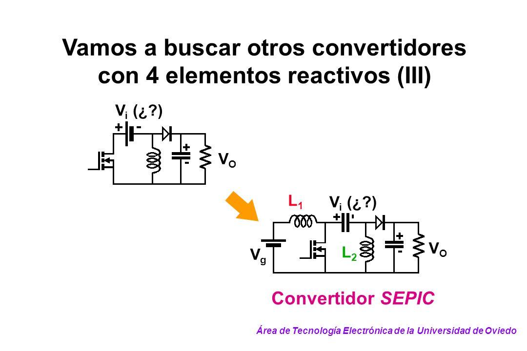 Vamos a buscar otros convertidores con 4 elementos reactivos (III) VOVO V i (¿?) VOVO VgVg Convertidor SEPIC L1L1 L2L2 Área de Tecnología Electrónica