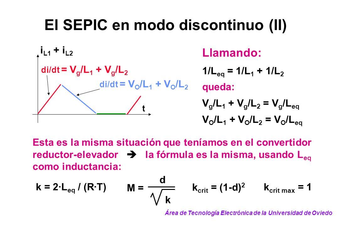di/dt = V g /L 1 + V g /L 2 t i L1 + i L2 di/dt = V O /L 1 + V O /L 2 Llamando: 1/L eq = 1/L 1 + 1/L 2 queda: V g /L 1 + V g /L 2 = V g /L eq V O /L 1