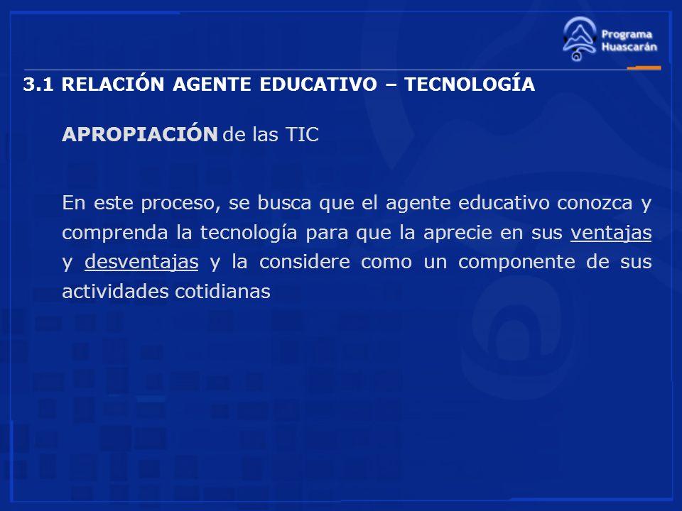 3.1 RELACIÓN AGENTE EDUCATIVO – TECNOLOGÍA APROPIACIÓN de las TIC En este proceso, se busca que el agente educativo conozca y comprenda la tecnología