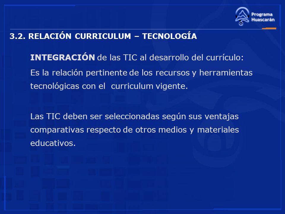 3.2. RELACIÓN CURRICULUM – TECNOLOGÍA INTEGRACIÓN de las TIC al desarrollo del currículo: Es la relación pertinente de los recursos y herramientas tec