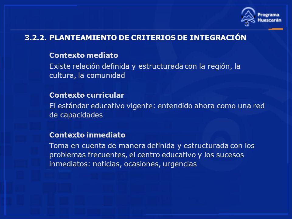 3.2.2. PLANTEAMIENTO DE CRITERIOS DE INTEGRACIÓN Contexto mediato Existe relación definida y estructurada con la región, la cultura, la comunidad Cont