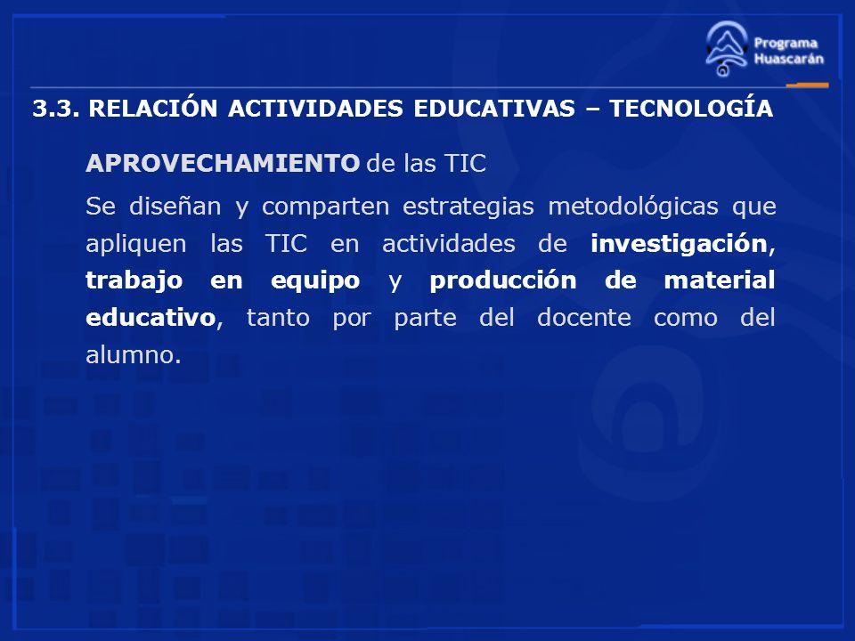 3.3. RELACIÓN ACTIVIDADES EDUCATIVAS – TECNOLOGÍA APROVECHAMIENTO de las TIC Se diseñan y comparten estrategias metodológicas que apliquen las TIC en