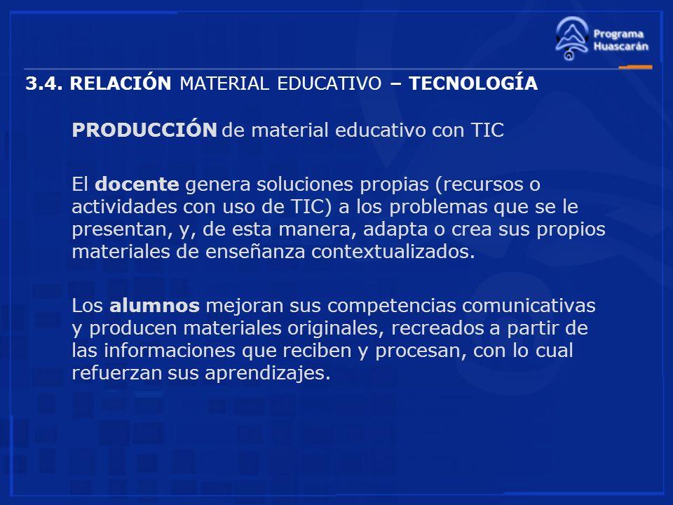 3.4. RELACIÓN MATERIAL EDUCATIVO – TECNOLOGÍA PRODUCCIÓN de material educativo con TIC El docente genera soluciones propias (recursos o actividades co