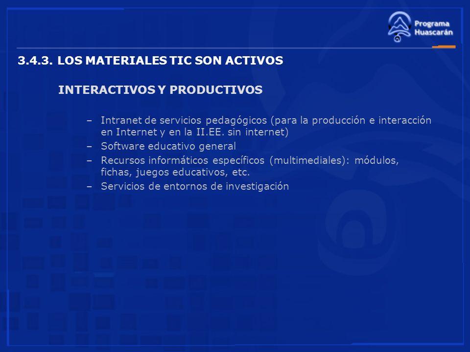 3.4.3. LOS MATERIALES TIC SON ACTIVOS INTERACTIVOS Y PRODUCTIVOS –Intranet de servicios pedagógicos (para la producción e interacción en Internet y en