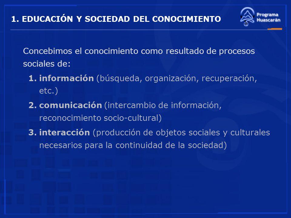 1. EDUCACIÓN Y SOCIEDAD DEL CONOCIMIENTO Concebimos el conocimiento como resultado de procesos sociales de: 1.información (búsqueda, organización, rec