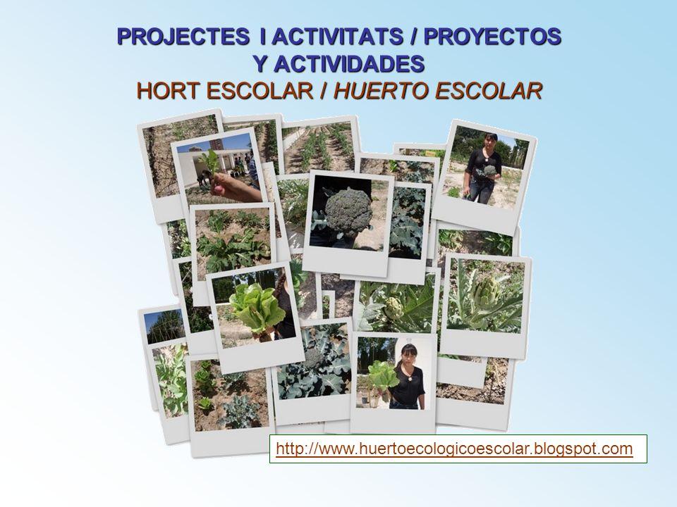 PROJECTES I ACTIVITATS / PROYECTOS Y ACTIVIDADES HORT ESCOLAR / HUERTO ESCOLAR http://www.huertoecologicoescolar.blogspot.com