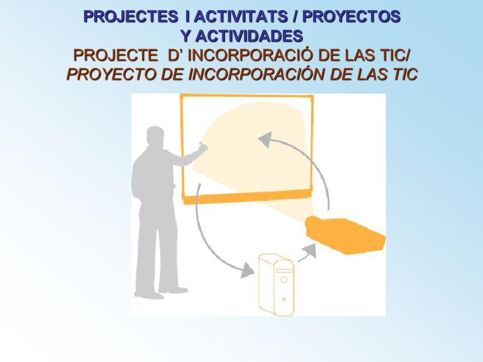 PROJECTES I ACTIVITATS / PROYECTOS Y ACTIVIDADES PROJECTE D INCORPORACIÓ DE LAS TIC/ PROYECTO DE INCORPORACIÓN DE LAS TIC