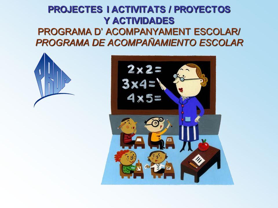 PROJECTES I ACTIVITATS / PROYECTOS Y ACTIVIDADES PROGRAMA D ACOMPANYAMENT ESCOLAR/ PROGRAMA DE ACOMPAÑAMIENTO ESCOLAR