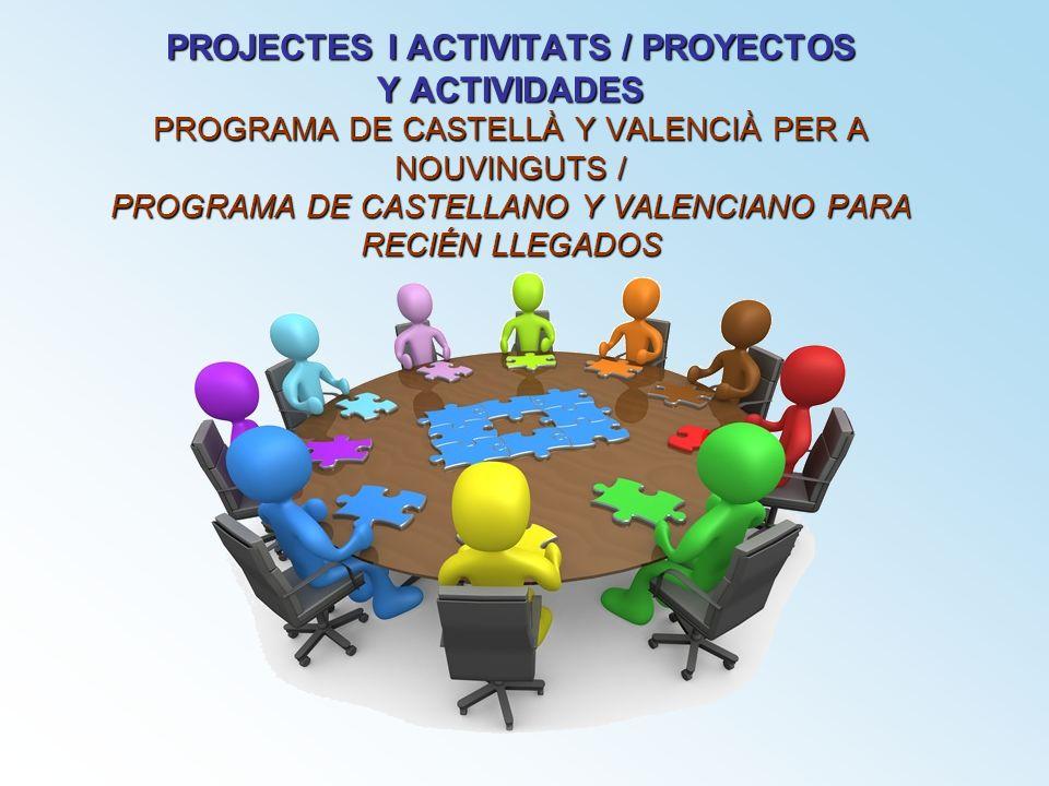 PROJECTES I ACTIVITATS / PROYECTOS Y ACTIVIDADES PROGRAMA DE CASTELLÀ Y VALENCIÀ PER A NOUVINGUTS / PROGRAMA DE CASTELLANO Y VALENCIANO PARA RECIÉN LL