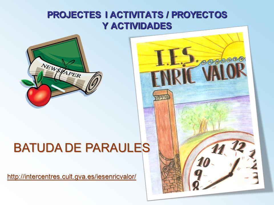 PROJECTES I ACTIVITATS / PROYECTOS Y ACTIVIDADES BATUDA DE PARAULES http://intercentres.cult.gva.es/iesenricvalor/