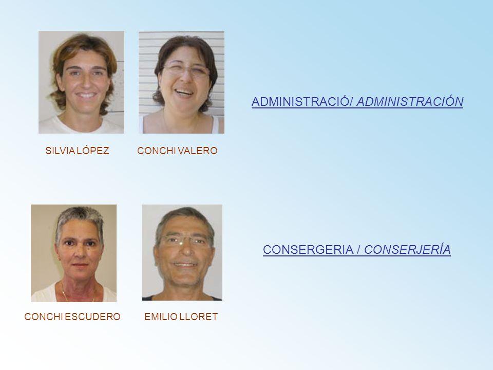 ADMINISTRACIÓ/ ADMINISTRACIÓN CONSERGERIA / CONSERJERÍA SILVIA LÓPEZCONCHI VALERO EMILIO LLORETCONCHI ESCUDERO