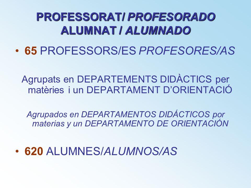 PROFESSORAT/ PROFESORADO ALUMNAT / ALUMNADO 65 PROFESSORS/ES PROFESORES/AS Agrupats en DEPARTEMENTS DIDÀCTICS per matèries i un DEPARTAMENT DORIENTACI