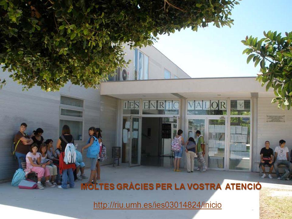 MOLTES GRÀCIES PER LA VOSTRA ATENCIÓ http://riu.umh.es/ies03014824/inicio