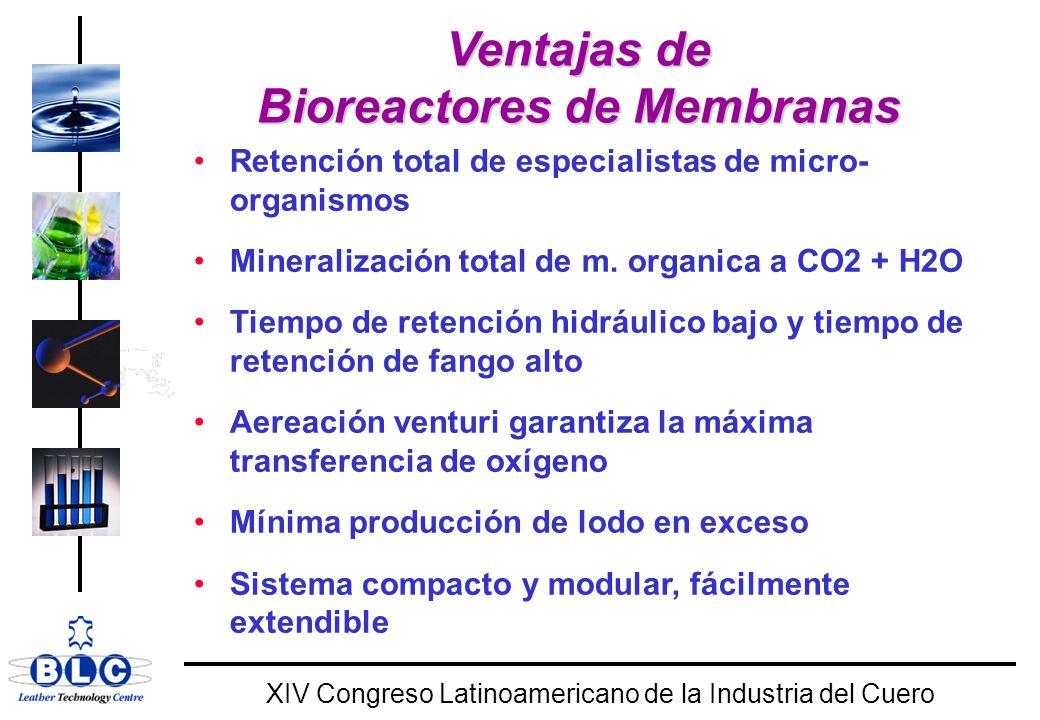 WORLD CLASS XIV Congreso Latinoamericano de la Industria del Cuero Ventajas de Bioreactores de Membranas Retención total de especialistas de micro- organismos Mineralización total de m.