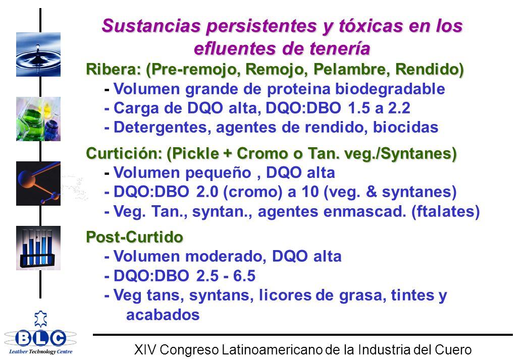 WORLD CLASS XIV Congreso Latinoamericano de la Industria del Cuero Sustancias persistentes y tóxicas en los efluentes de tenería Ribera: (Pre-remojo, Remojo, Pelambre, Rendido) - Volumen grande de proteina biodegradable - Carga de DQO alta, DQO:DBO 1.5 a 2.2 - Detergentes, agentes de rendido, biocidas Curtición: (Pickle + Cromo o Tan.