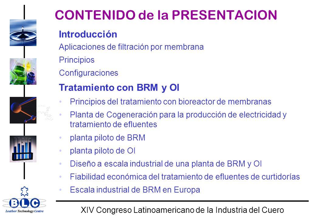 WORLD CLASS XIV Congreso Latinoamericano de la Industria del Cuero Teneria ovina BRM para tratar remojo y degradar pesticidas Pesticidas (µg/l)Alimentación Permeado (%) Pesticidas Totales: 125.710.2 92 Chlorphenvinphos: 3.4 0.37 89 Diazinona: 32,1 5.5 83 Protoamphos: 90.3 4.4 95 Cypermethrina: 8.2 ND