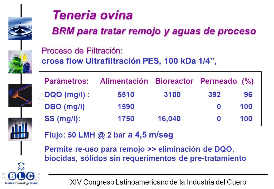 WORLD CLASS XIV Congreso Latinoamericano de la Industria del Cuero Teneria ovina BRM para tratar remojo y aguas de proceso Teneria ovina BRM para tratar remojo y aguas de proceso Proceso de Filtración: cross flow Ultrafiltración PES, 100 kDa 1/4, Parámetros: Alimentación Bioreactor Permeado (%) DQO (mg/l) : 5510 3100 392 96 DBO (mg/l) 1590 0 100 SS (mg/l): 1750 16,040 0 100 Flujo: 50 LMH @ 2 bar a 4,5 m/seg Permite re-uso para remojo >> eliminación de DQO, biocidas, sólidos sin requerimentos de pre-tratamiento