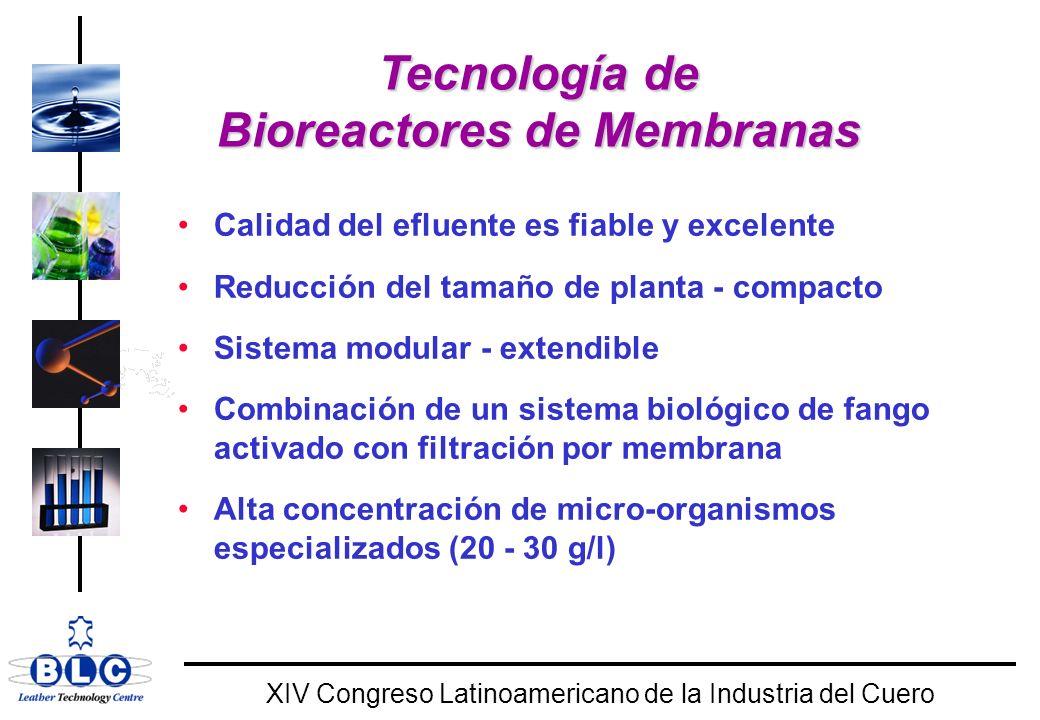 WORLD CLASS XIV Congreso Latinoamericano de la Industria del Cuero Tecnología de Bioreactores de Membranas Calidad del efluente es fiable y excelente Reducción del tamaño de planta - compacto Sistema modular - extendible Combinación de un sistema biológico de fango activado con filtración por membrana Alta concentración de micro-organismos especializados (20 - 30 g/l)
