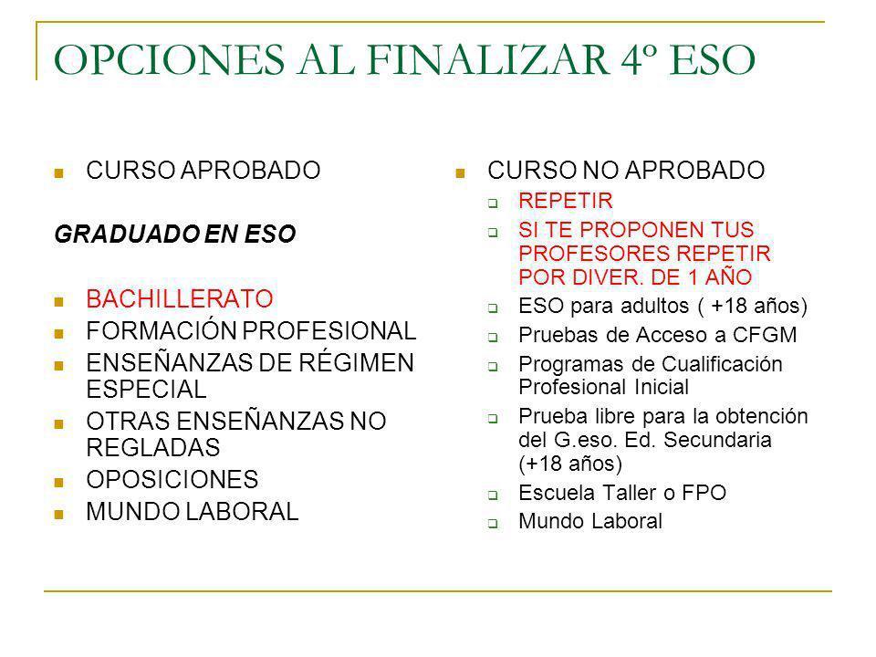 OPCIONES AL FINALIZAR 4º ESO CURSO APROBADO GRADUADO EN ESO BACHILLERATO FORMACIÓN PROFESIONAL ENSEÑANZAS DE RÉGIMEN ESPECIAL OTRAS ENSEÑANZAS NO REGL