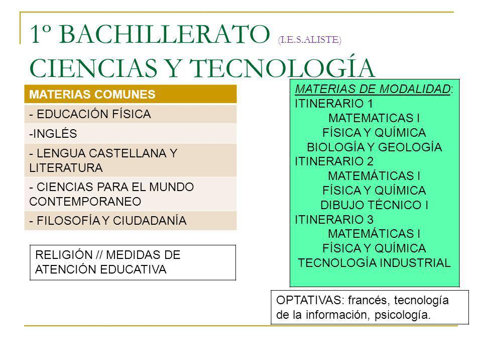 1º BACHILLERATO (I.E.S.ALISTE) CIENCIAS Y TECNOLOGÍA MATERIAS COMUNES - EDUCACIÓN FÍSICA -INGLÉS - LENGUA CASTELLANA Y LITERATURA - CIENCIAS PARA EL M