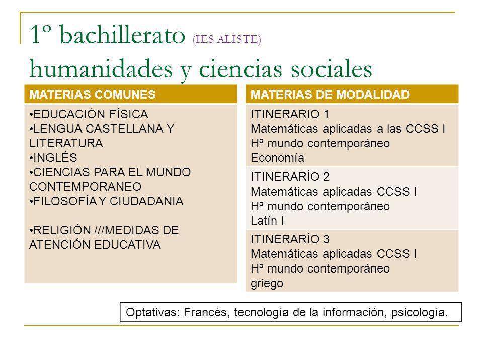 1º bachillerato (IES ALISTE) humanidades y ciencias sociales MATERIAS COMUNES EDUCACIÓN FÍSICA LENGUA CASTELLANA Y LITERATURA INGLÉS CIENCIAS PARA EL