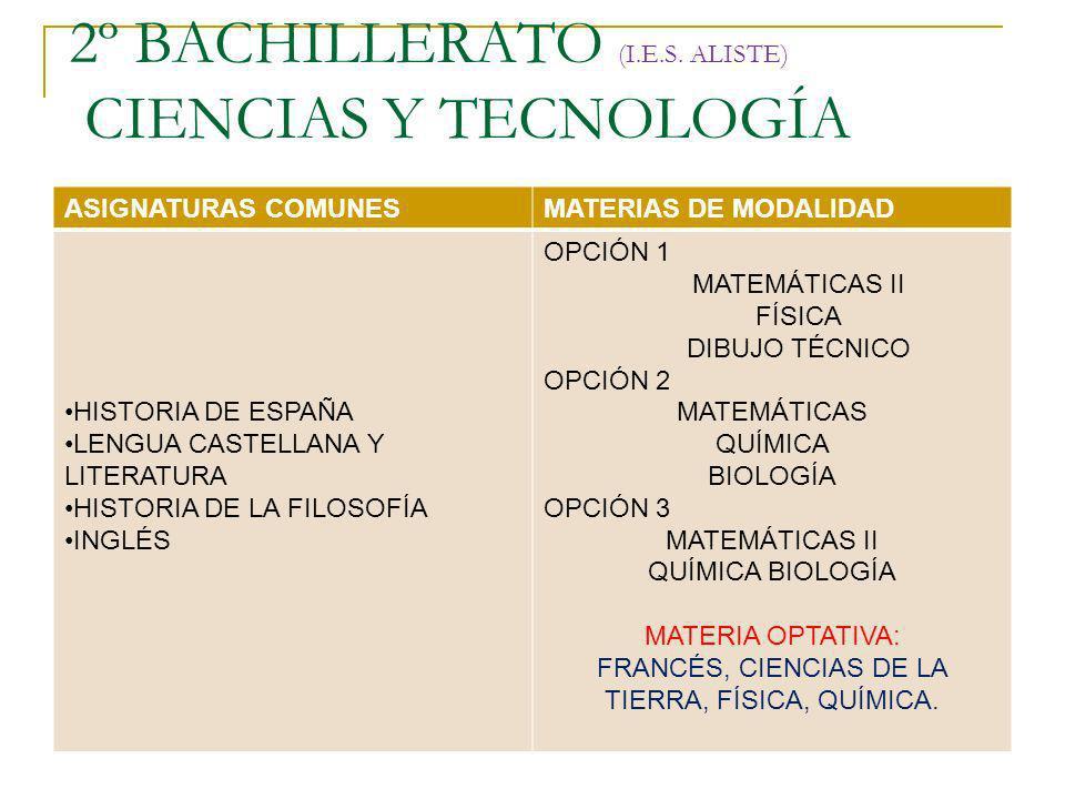 2º BACHILLERATO (I.E.S. ALISTE) CIENCIAS Y TECNOLOGÍA ASIGNATURAS COMUNESMATERIAS DE MODALIDAD HISTORIA DE ESPAÑA LENGUA CASTELLANA Y LITERATURA HISTO