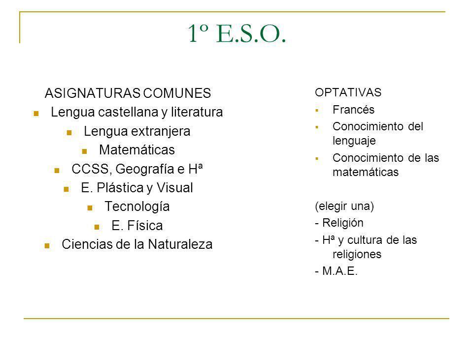 1º E.S.O. ASIGNATURAS COMUNES Lengua castellana y literatura Lengua extranjera Matemáticas CCSS, Geografía e Hª E. Plástica y Visual Tecnología E. Fís