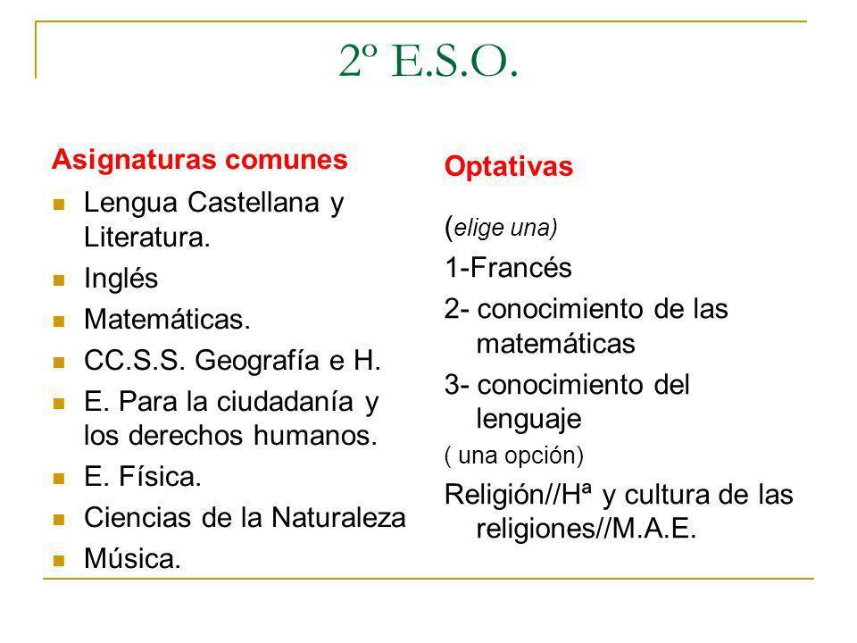 2º E.S.O. Asignaturas comunes Lengua Castellana y Literatura. Inglés Matemáticas. CC.S.S. Geografía e H. E. Para la ciudadanía y los derechos humanos.