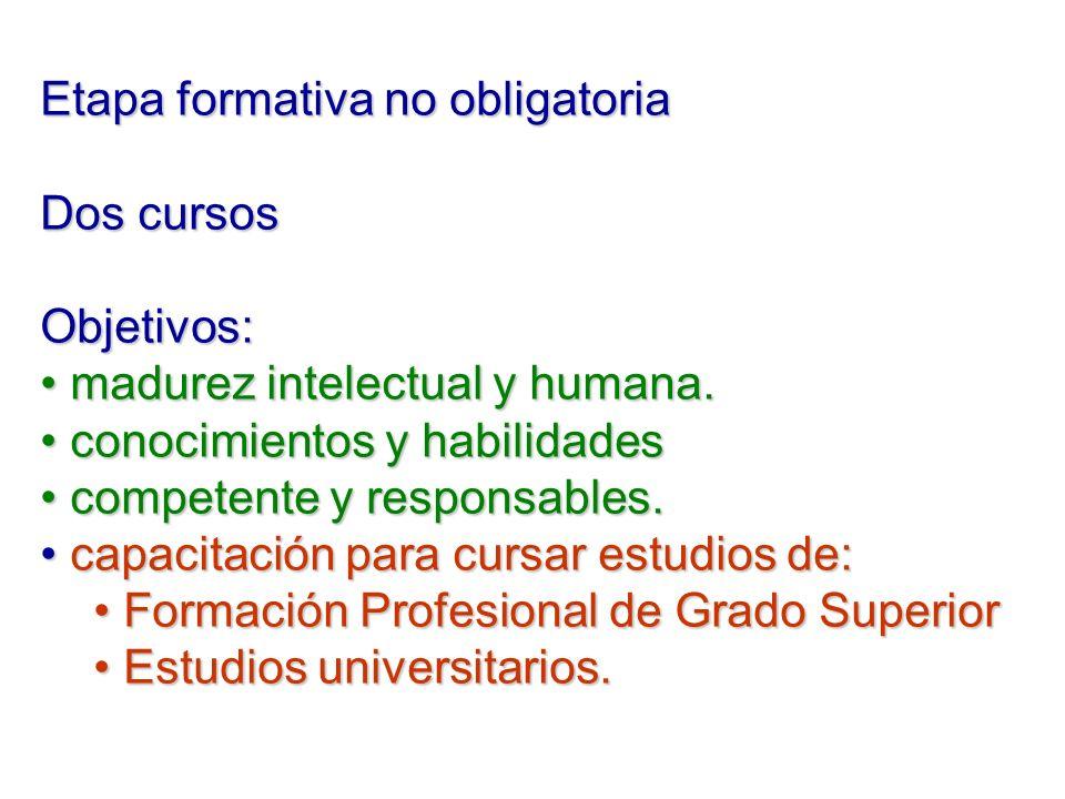 Etapa formativa no obligatoria Dos cursos Objetivos: madurez intelectual y humana. madurez intelectual y humana. conocimientos y habilidades conocimie