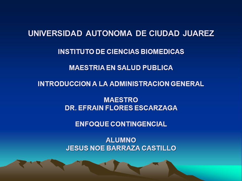 Bibliografía Koontz/ODonnell, Curso de Administracion Moderna, Un Analisis de Sistemas y Contingencias de las Funciones Administrativas, Sexta Edicion, McGraw-Hill, 1980 http://www.geocities.com/eulides2000/1.htm http://www.geocities.com/sjuvella/TeoriadaContingencia.htm1 http://www.geocities.com/unamosapuntes_2000/apuntes/innte cadmon/teocontingencia.htmhttp://www.geocities.com/unamosapuntes_2000/apuntes/innte cadmon/teocontingencia.htm http://www.geocities.com/perfilgerencial/introduccion_ a_ la_ administracion.htm1http://www.geocities.com/perfilgerencial/introduccion_ a_ la_ administracion.htm1 http://www.geocities.com/Athens/Crete/3108/Teorias.htm1 http://cead2002.uabc.mx/dgaa/matdidac2/admon/UNIDAD%2 02/CONTINGENCIA.htmhttp://cead2002.uabc.mx/dgaa/matdidac2/admon/UNIDAD%2 02/CONTINGENCIA.htm