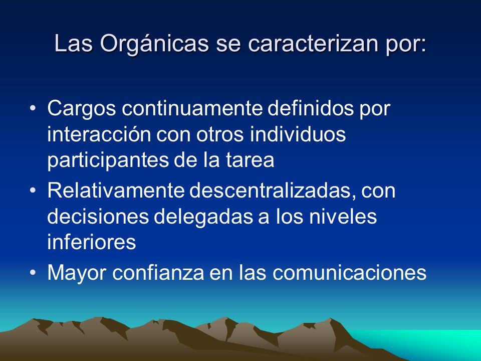 Las Orgánicas se caracterizan por: Cargos continuamente definidos por interacción con otros individuos participantes de la tarea Relativamente descent