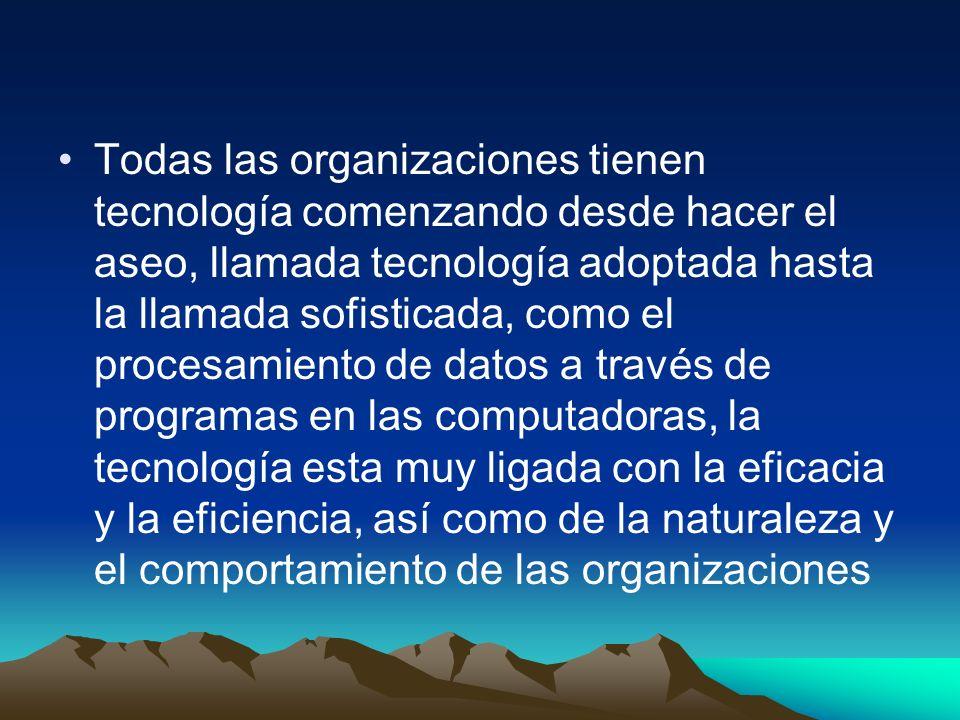 Todas las organizaciones tienen tecnología comenzando desde hacer el aseo, llamada tecnología adoptada hasta la llamada sofisticada, como el procesami